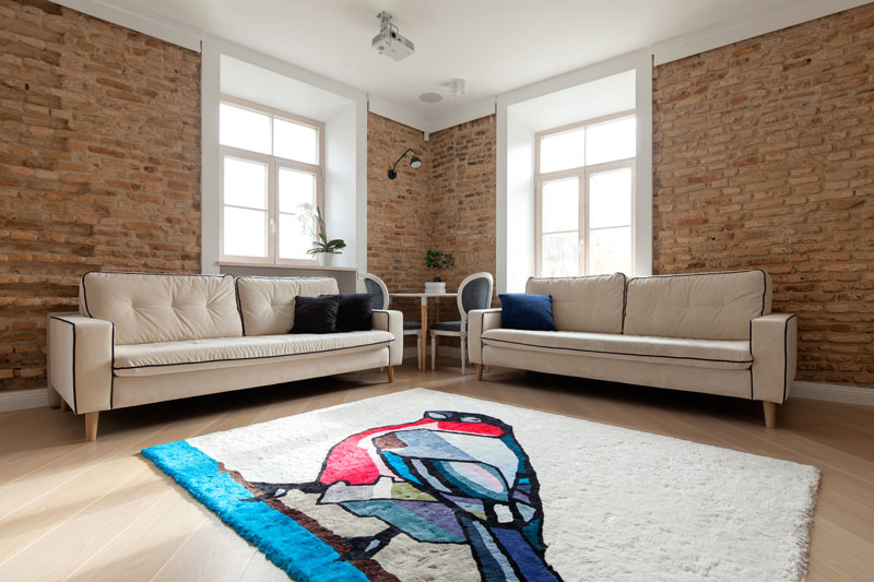 Agne Kisonaite linen hand woven rug 'Bullfinch' in home interior