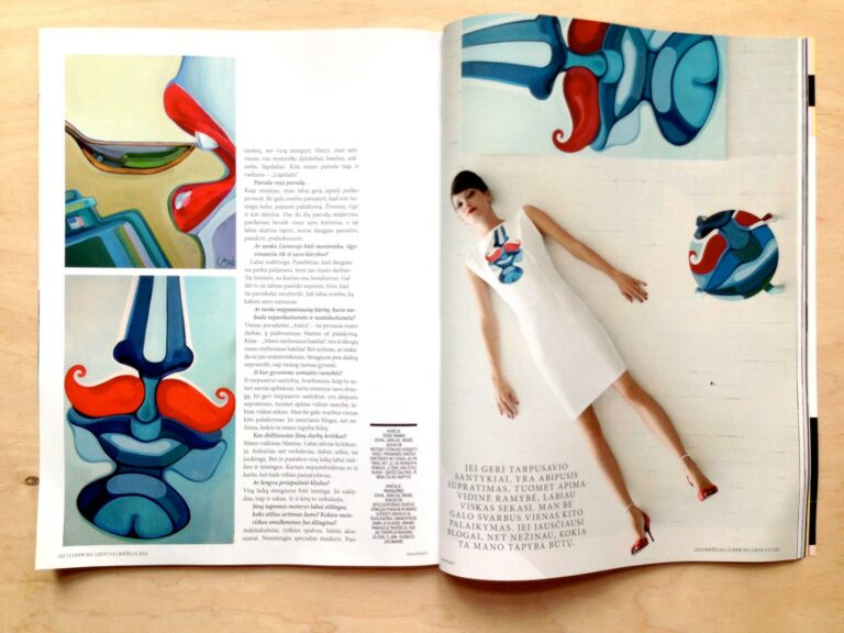 Article in a magazine with painting 'Hiding'. Author - artist Agne Kisonaite