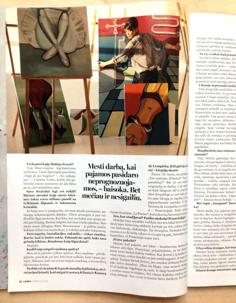 Magazine excerpt with painting 'Inconvenient Formality'. Author Agne Kisonaite