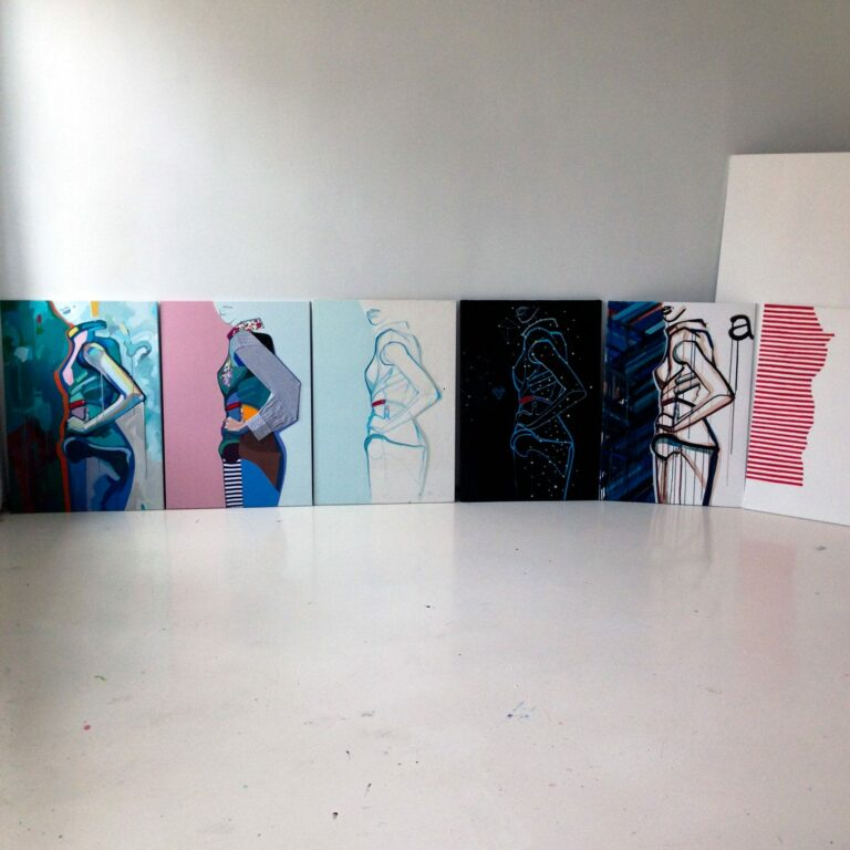 Set of paintings Posture at exhibition author Agne Kisonaite