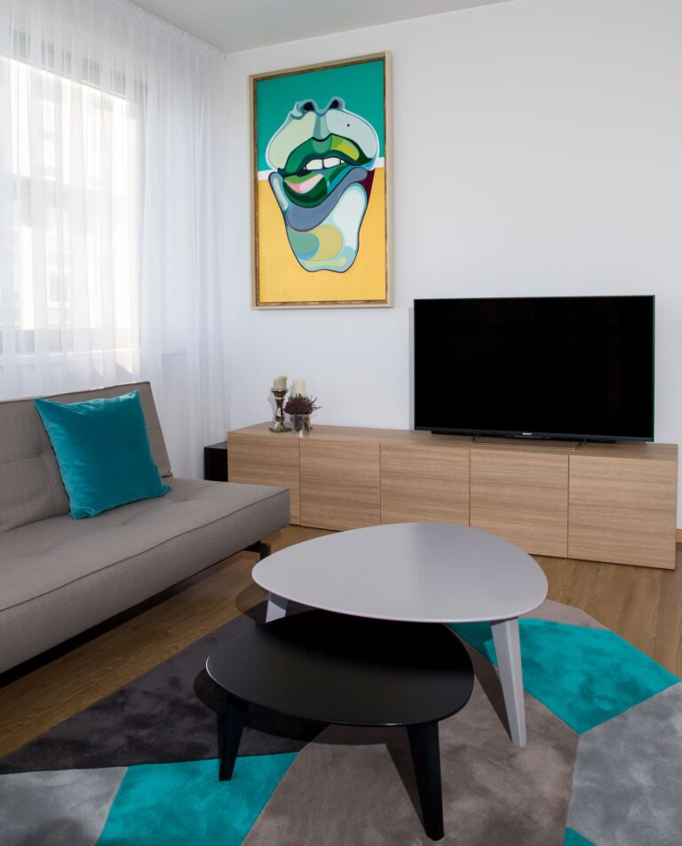 Painting 'Mint Lips' in home interior. Artist Agne Kisonaite
