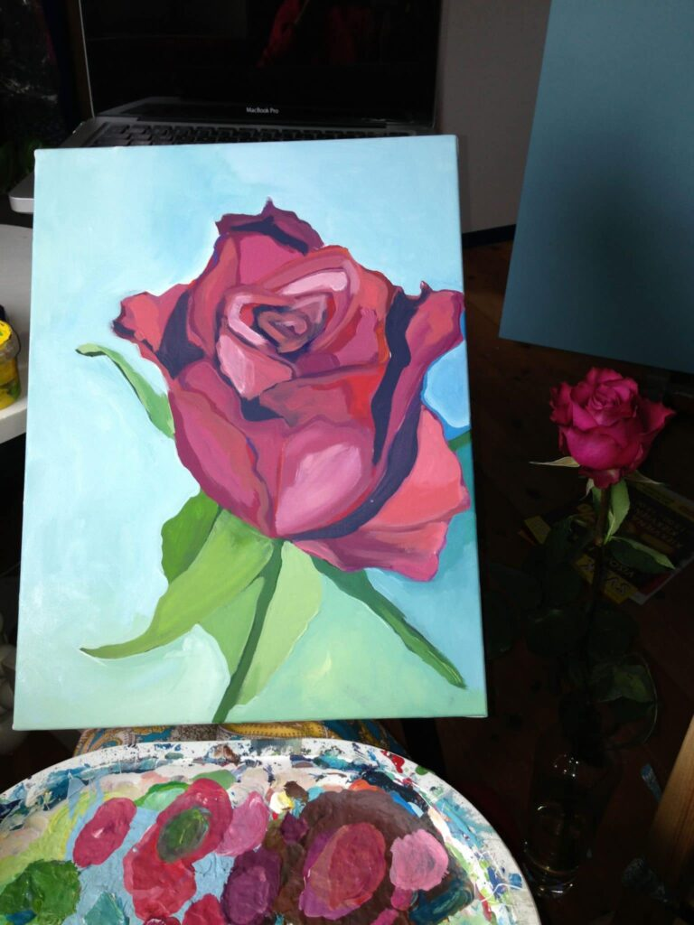 Painting 'Rose' with flower rose