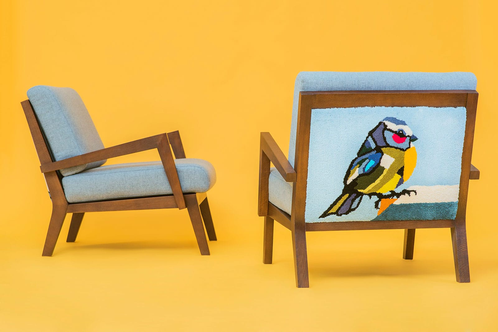 Set of handmade armchairs created by artist Agne Kisonaite