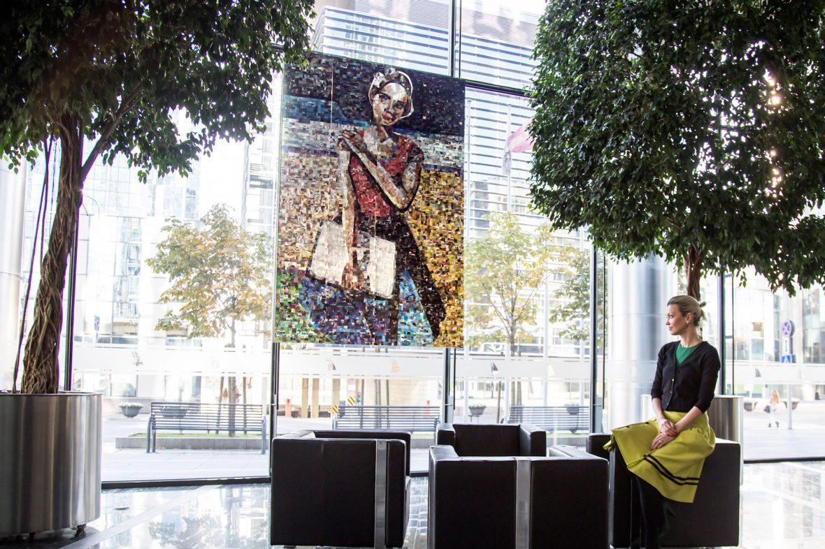 Agne Kisonaite with her art installation 'Modern Lithuanian'