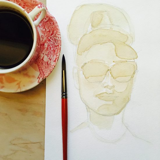 Coffee painting of Audrey Hepburn by Agne Kisonaite