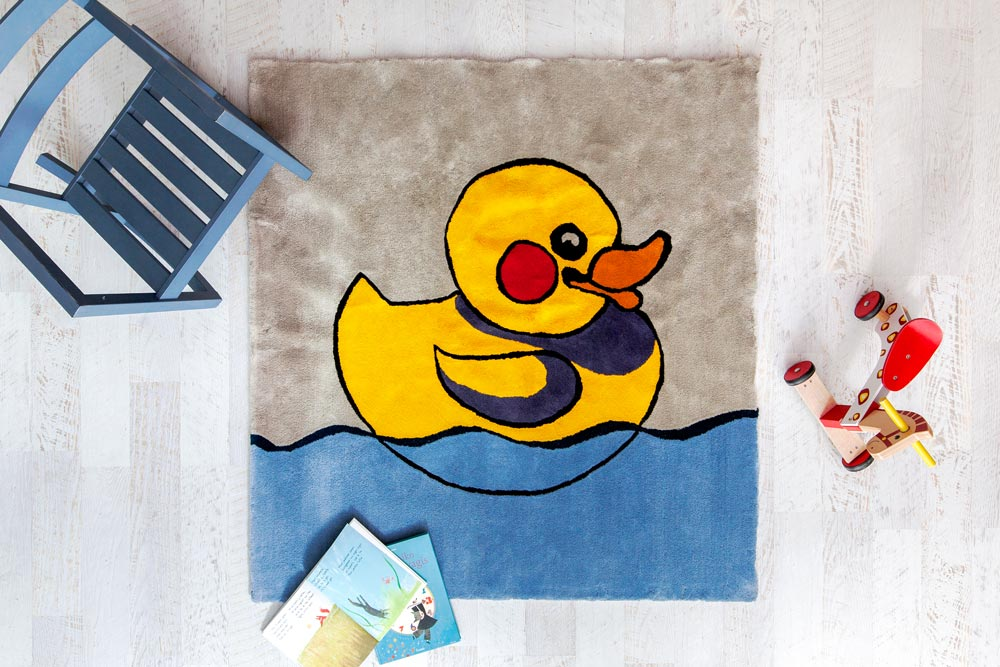 Agne Kisonaite linen hand woven rug 'Rubber Duck' in home interior