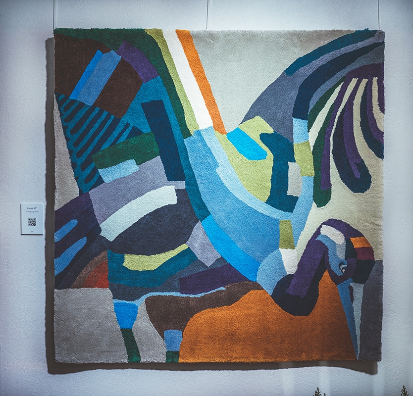 Agne Kisonaite linen hand woven rugs exhibition moments