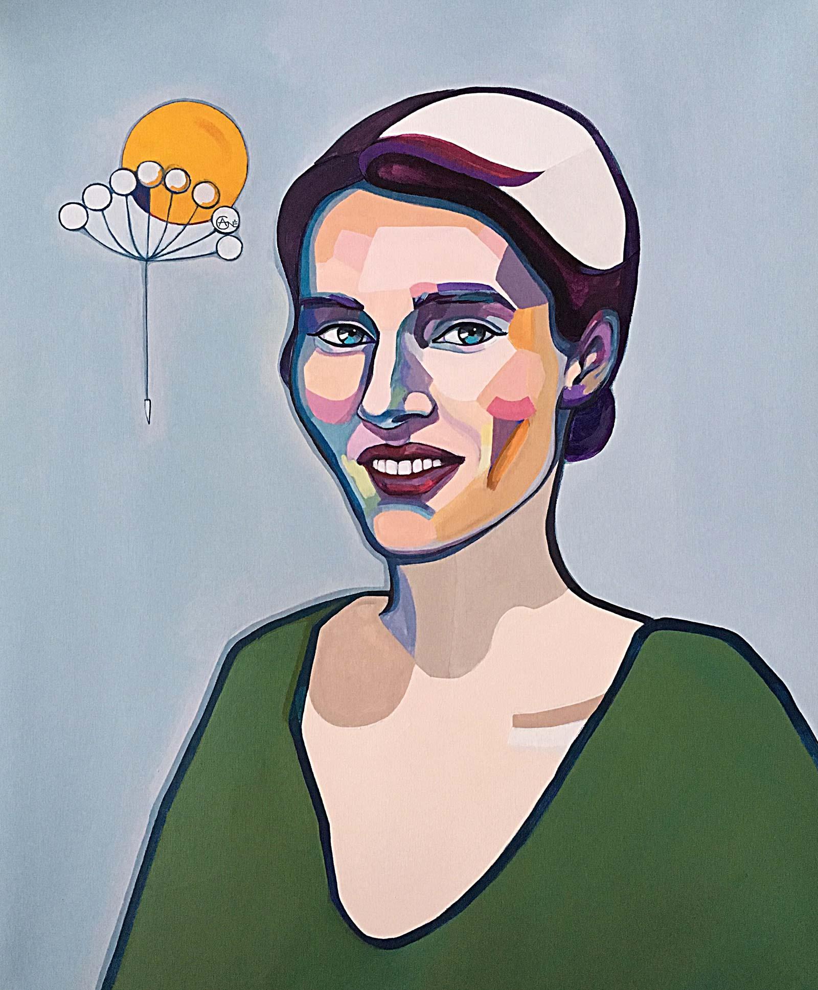 Modern portrait of Simona. Artist Agne Kisonaite