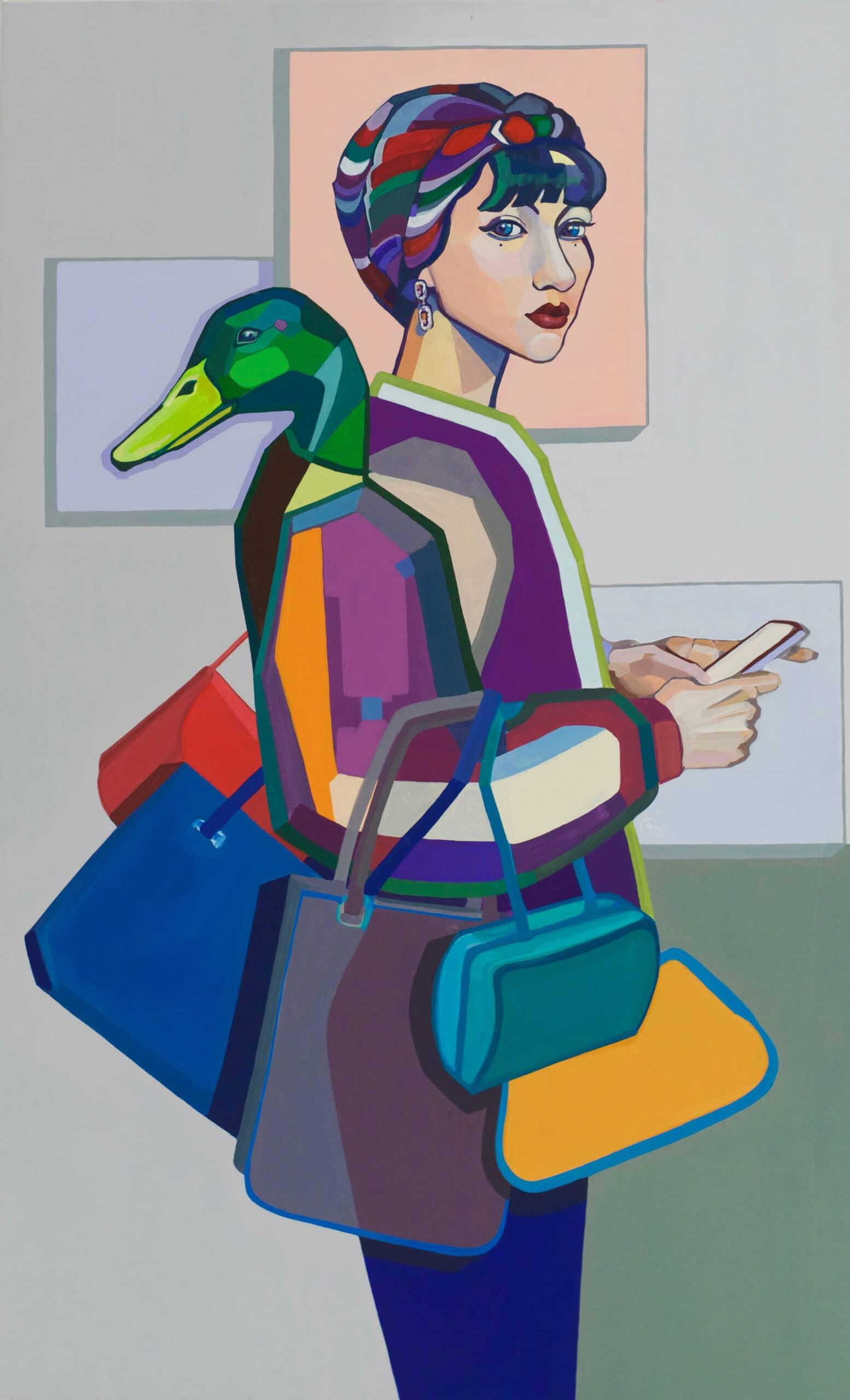 Modern acrylic painting 'Fashionista'. Artist Agne Kisonaite