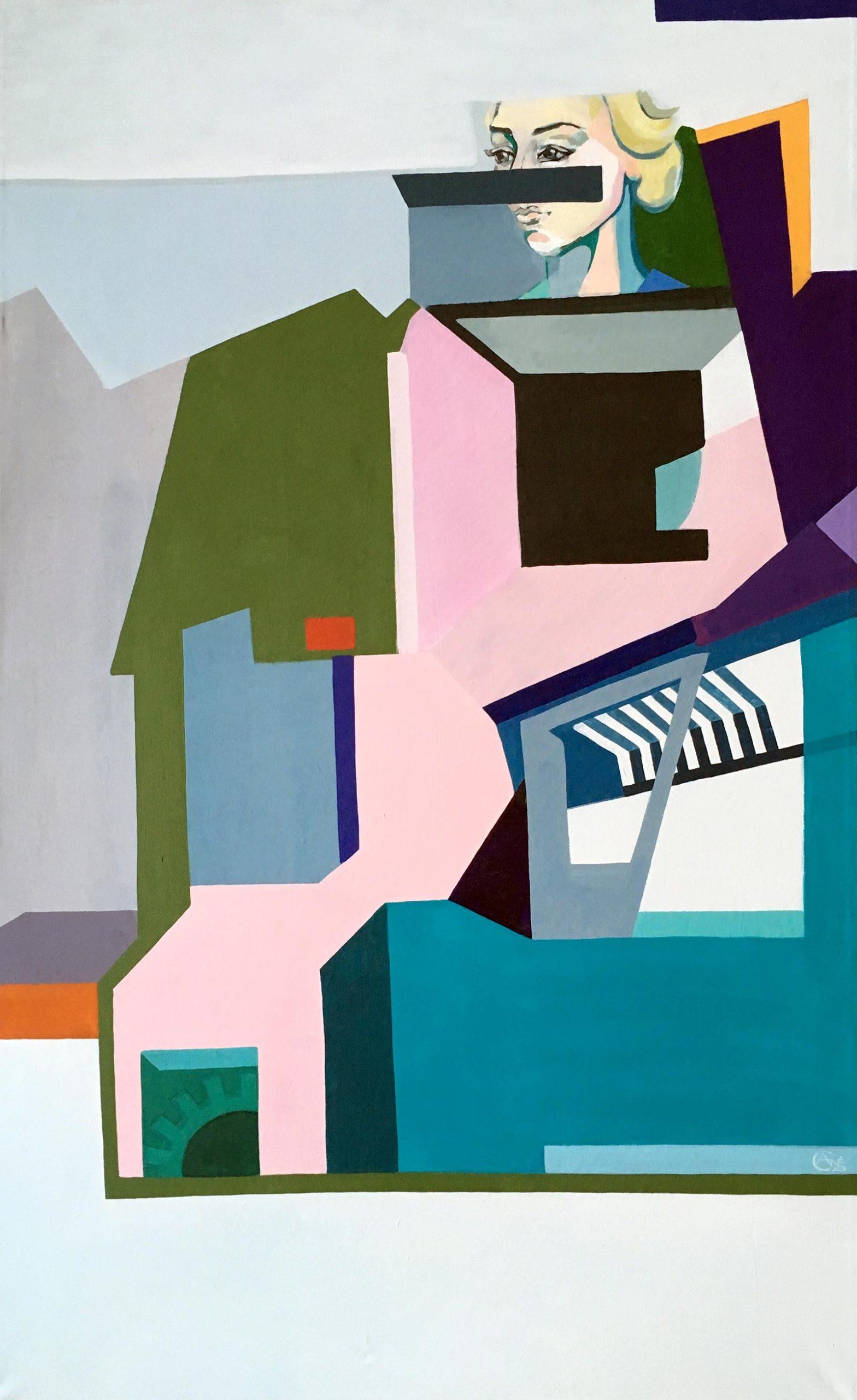 Modern acrylic painting 'Memory'. Artist Agne Kisonaite