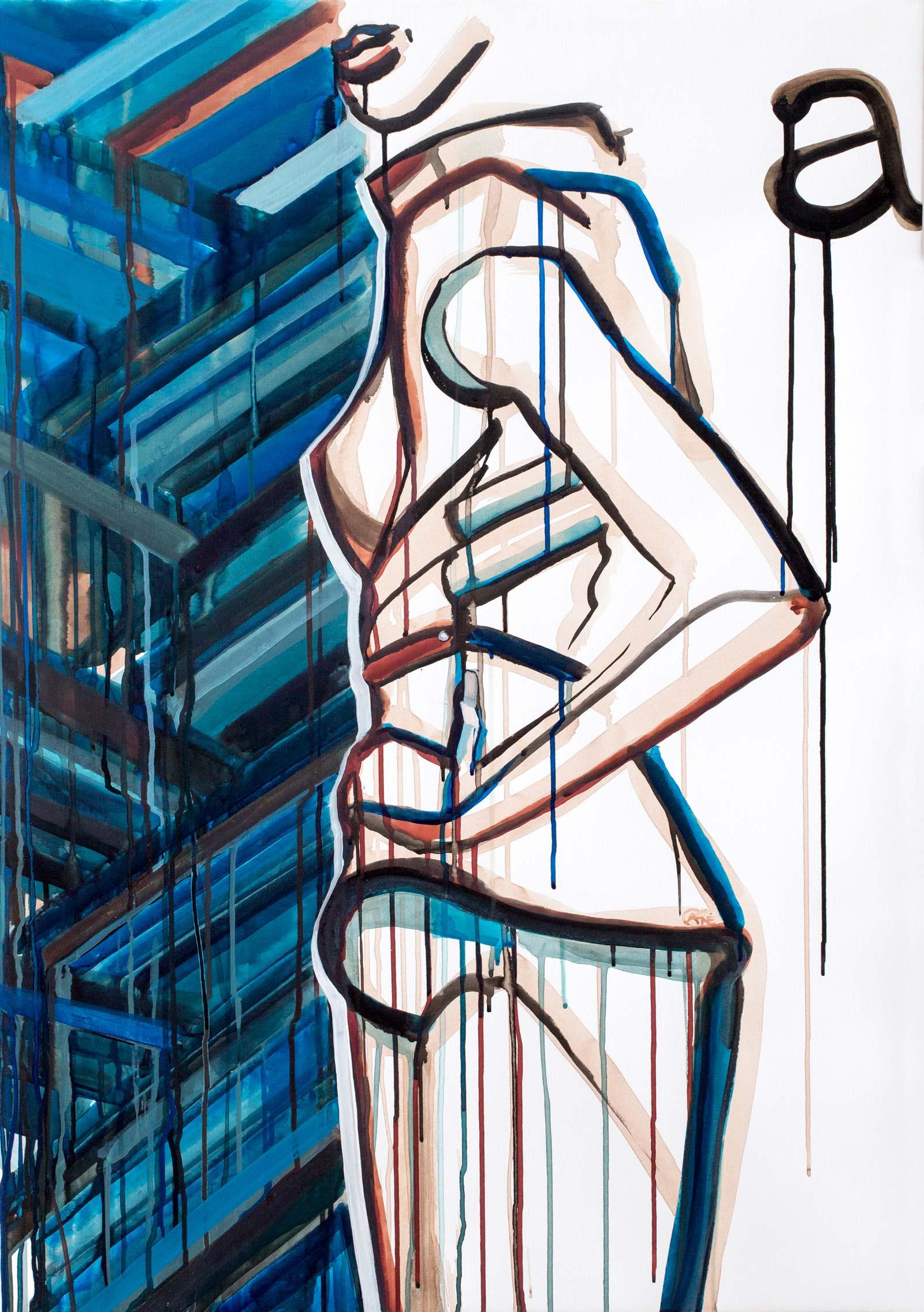 Modern acrylic painting 'Pose3'. Artist Agne Kisonaite