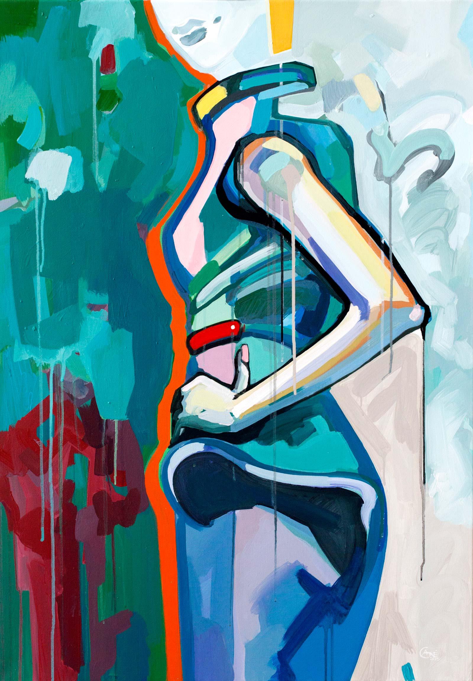 Modern acrylic painting 'Pose #3'. Artist Agne Kisonaite