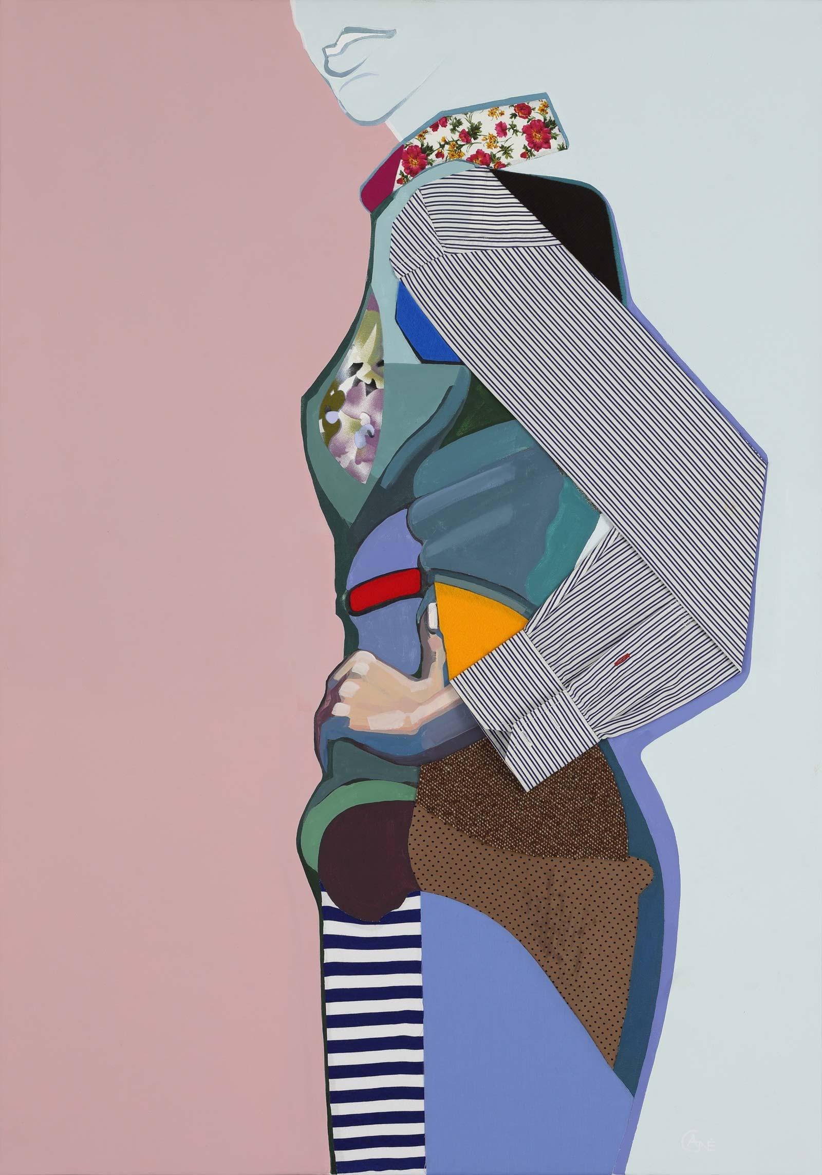 Modern acrylic painting 'Pose #5'. Artist Agne Kisonaite
