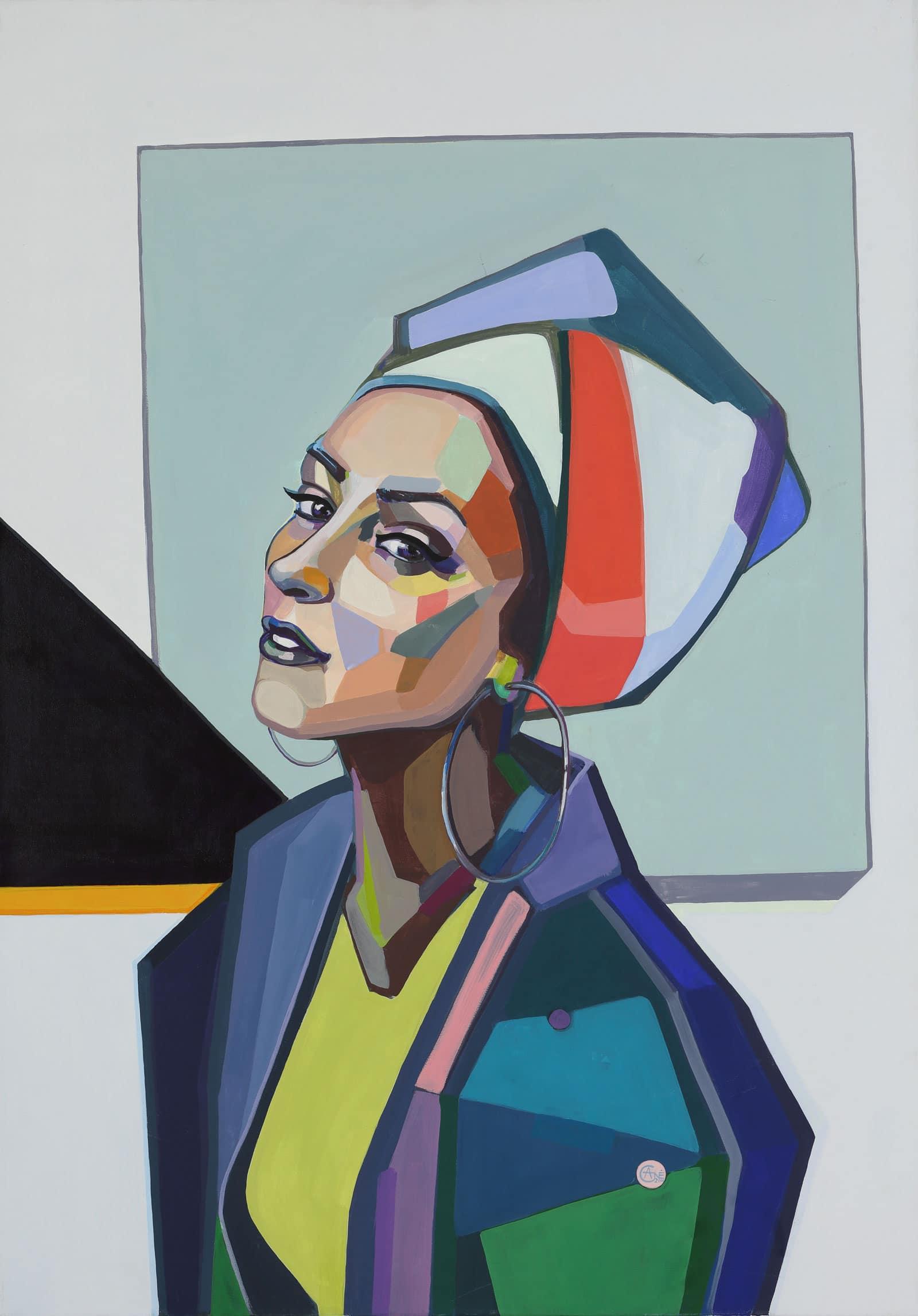 Modern acrylic painting 'Selfie'. Artist Agne Kisonaite