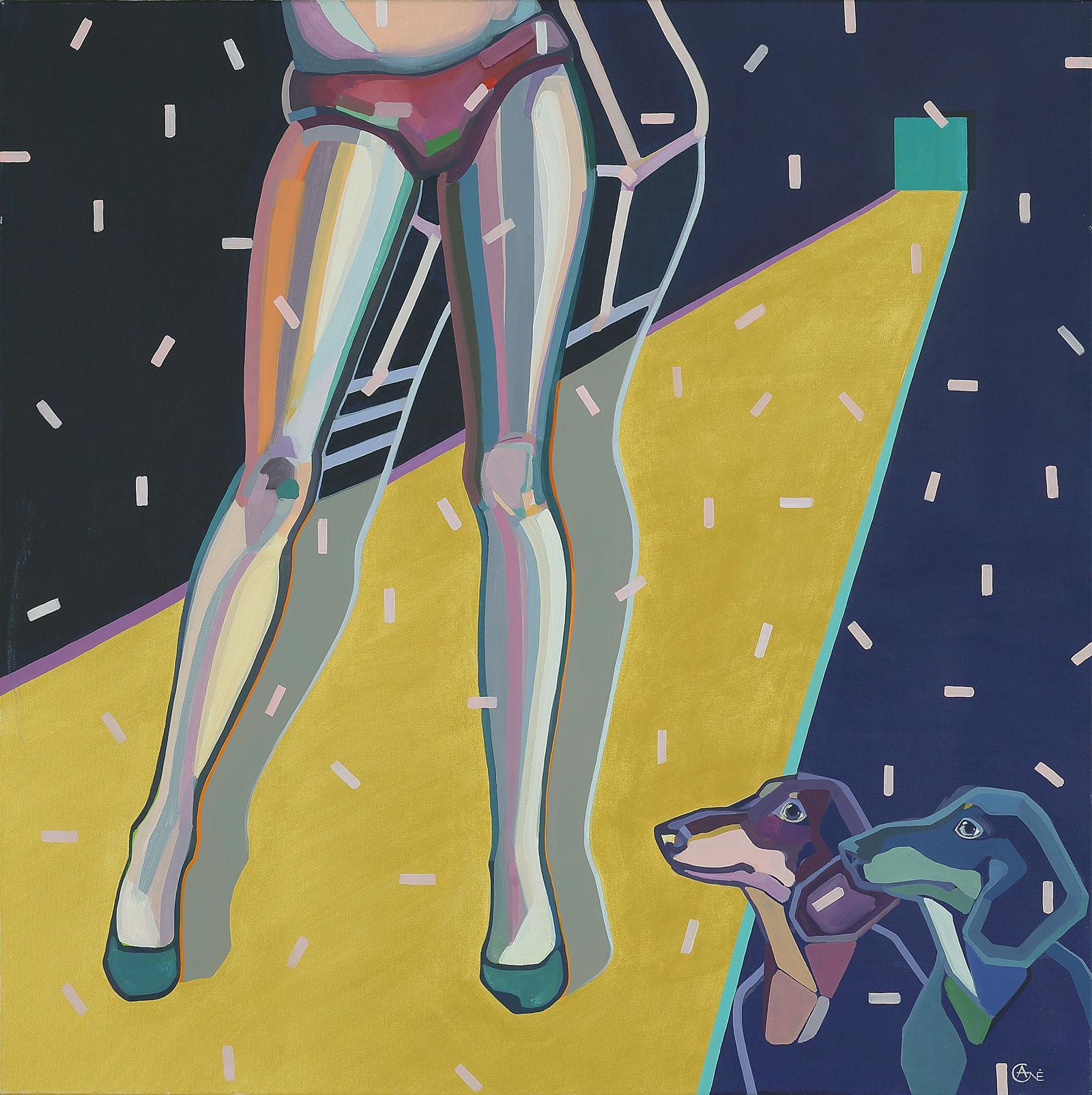 Modern acrylic painting 'Catwalk'. Artist Agne Kisonaite