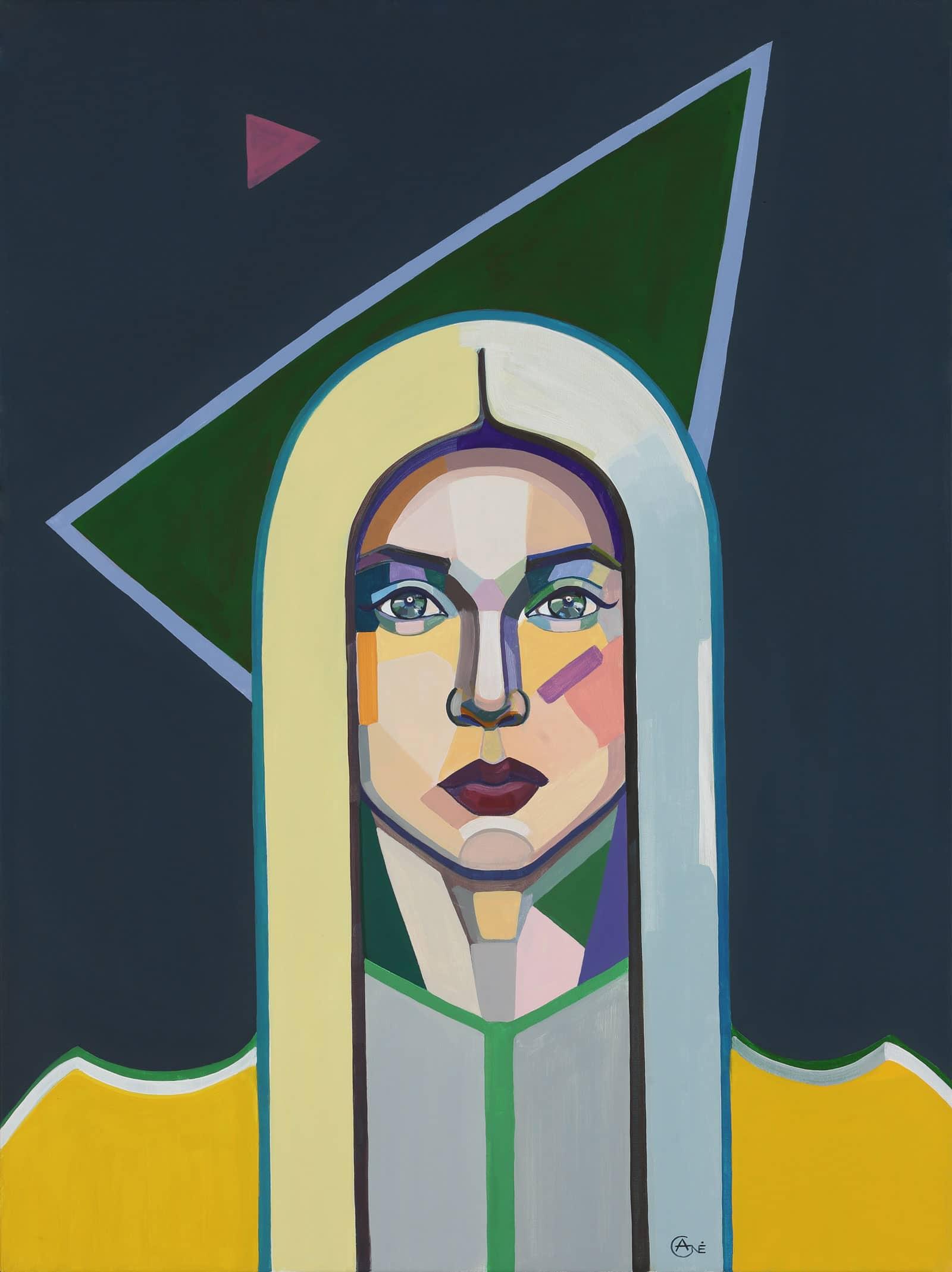 Modern acrylic painting 'Cosmic Girl'. Artist Agne Kisonaite