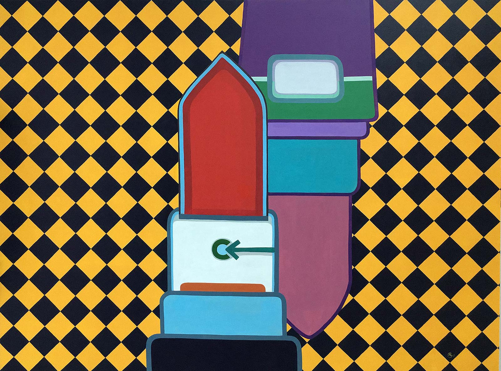 Modern acrylic painting 'Deco Plus'. Artist Agne Kisonaite