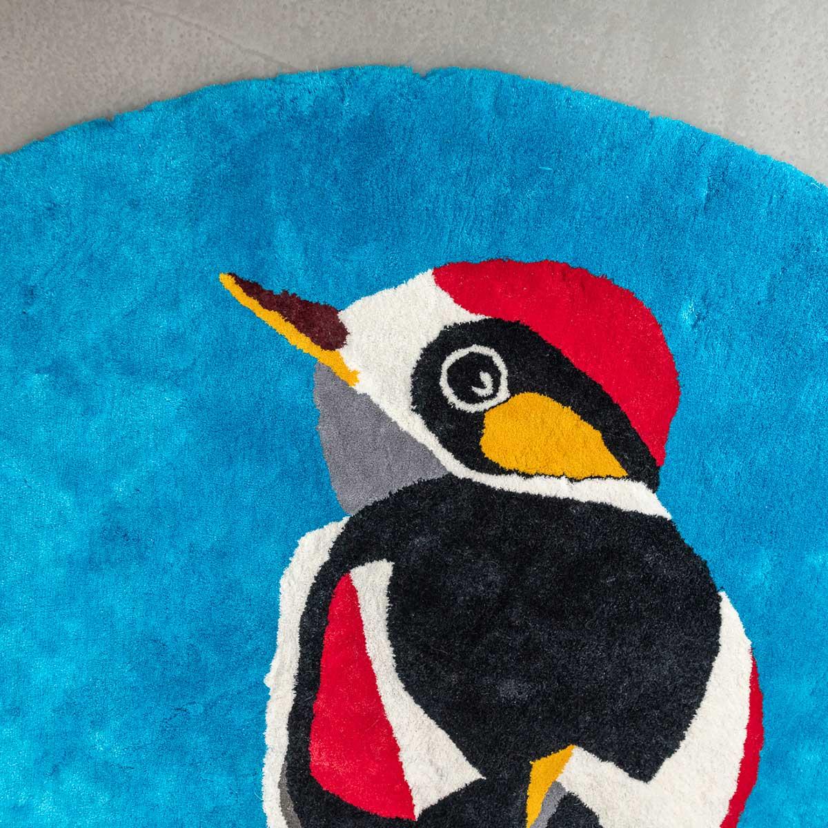 Linen hand woven rug Woodpecker