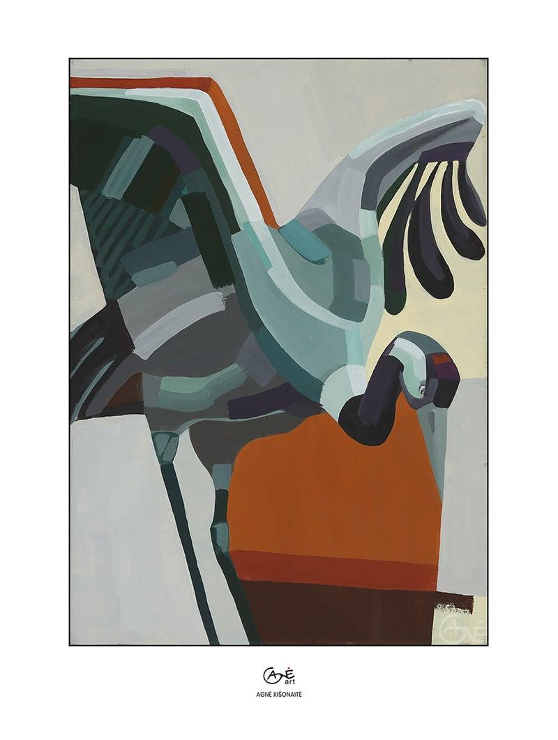 Agne Kisonaite painting reproduction print 'Crane'