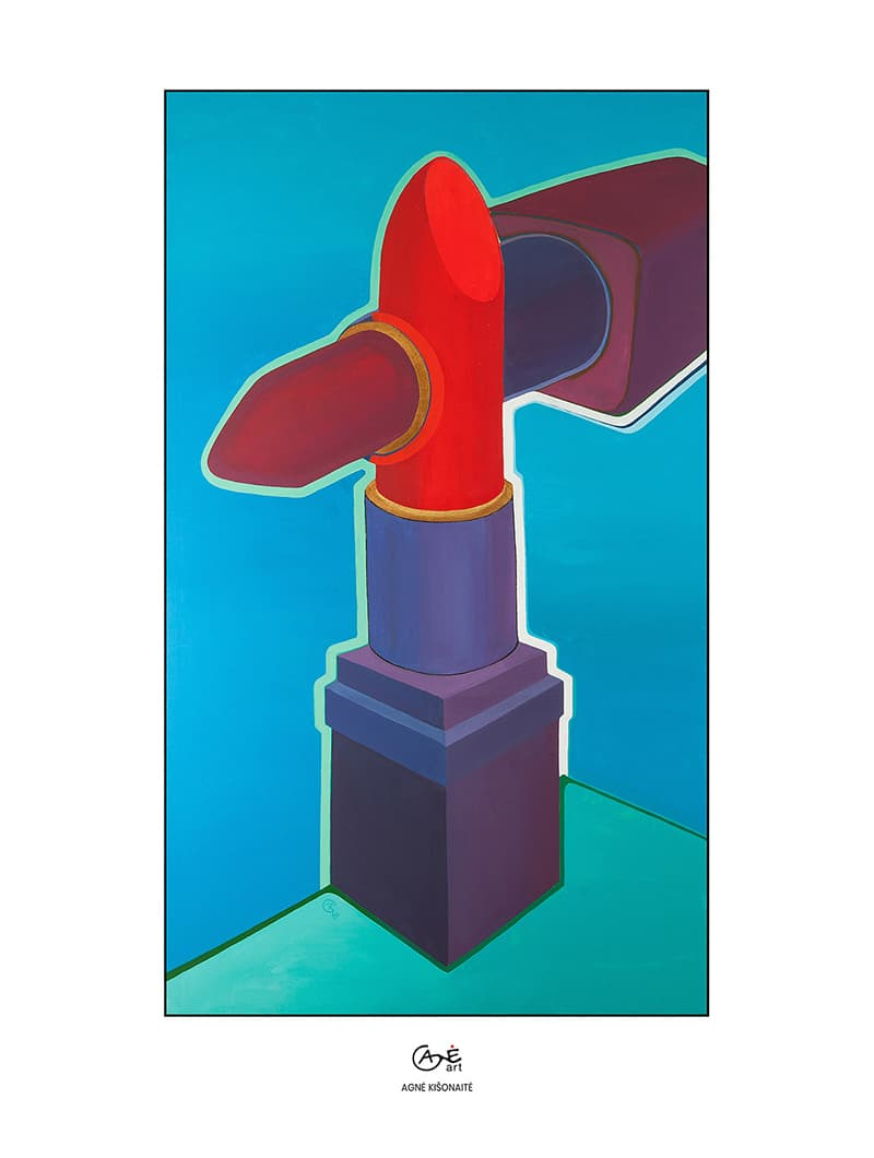 Agne Kisonaite painting reproduction print 'Lipstick Wars'