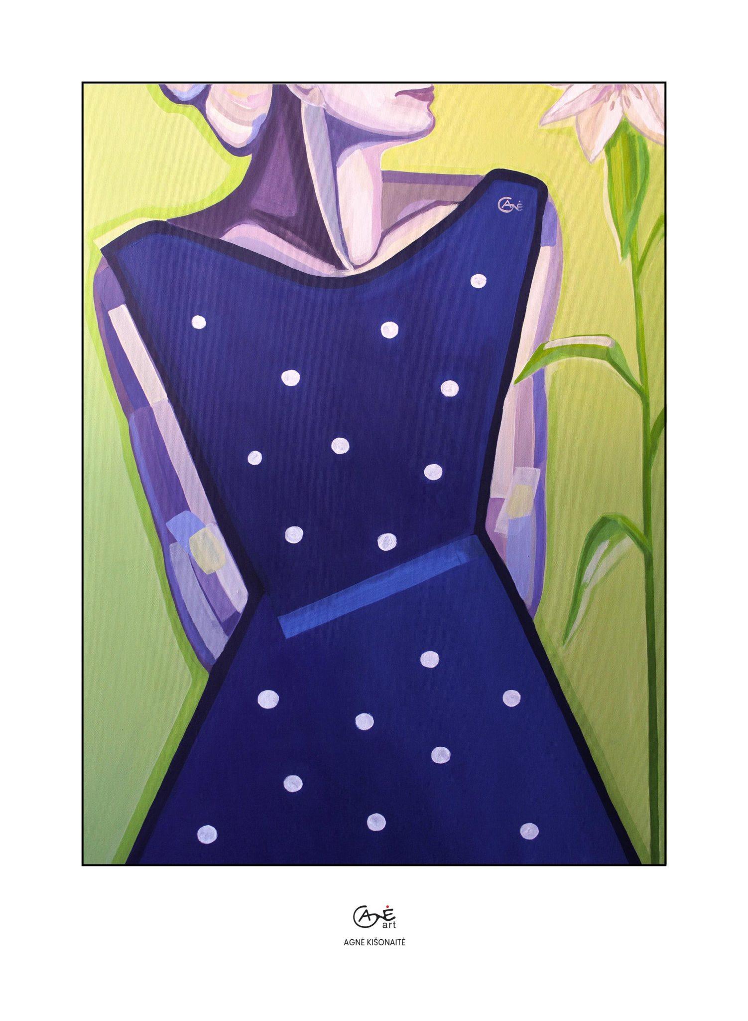 Print of painting 'Polka Dot Dress'. Author: artist Agne Kisonaite