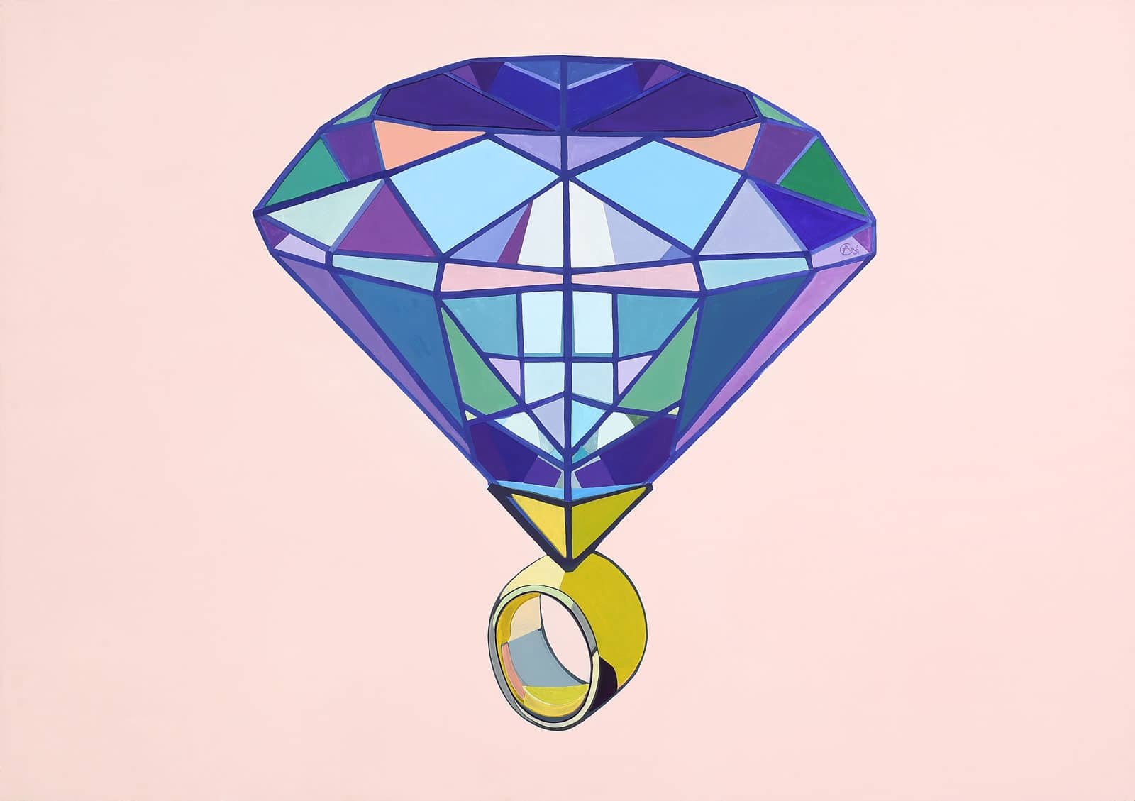 Modern acrylic painting 'Diamond'. Artist Agne Kisonaite
