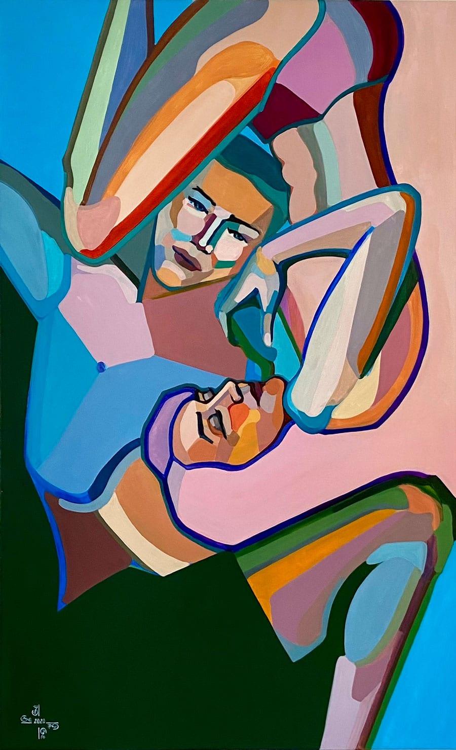 Modern acrylic painting 'Relationships'. Artist Agne Kisonaite